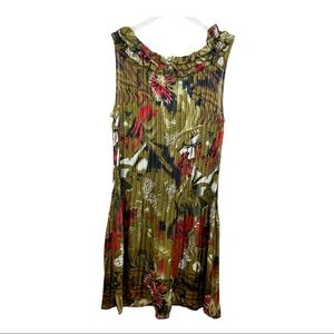Amanda Lane Brown/White/Red Floral Pleated Dress
